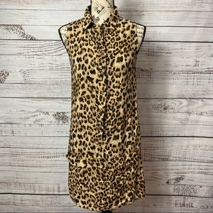 UNCLE FRANK LEOPARD COLLARED BUTTON DRESS